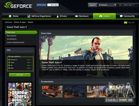 GeForce Experience drivers para GTA 5