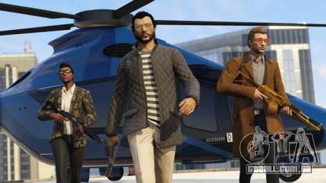 caras legais com o Volatus no fundo no GTA Online