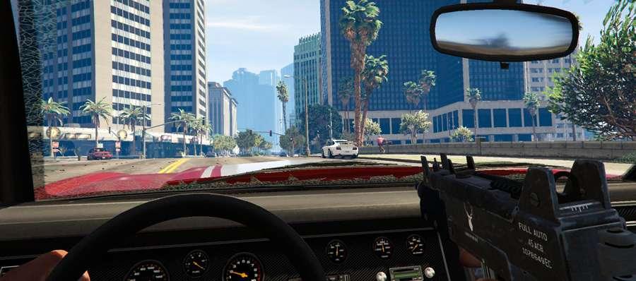 No GTA 5 atirando do carro