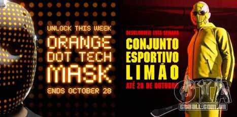 Máscara tecnológica pontos laranja e conjunto esportivo limão gratuitos