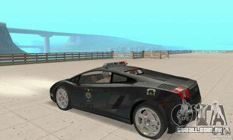 Lamborghini Gallardo Police para GTA San Andreas vista direita
