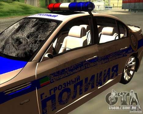 BMW M5 E60 polícia para GTA San Andreas vista inferior