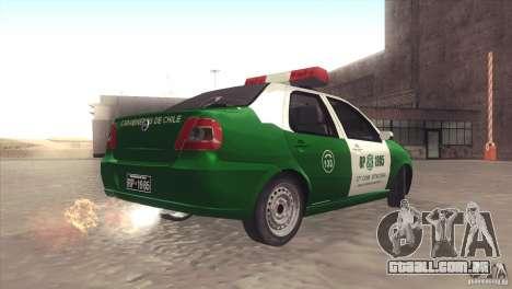 Fiat Siena Carabineros De Chile para GTA San Andreas esquerda vista