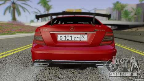 Mercedes Benz C63 AMG Black Series 2012 para vista lateral GTA San Andreas