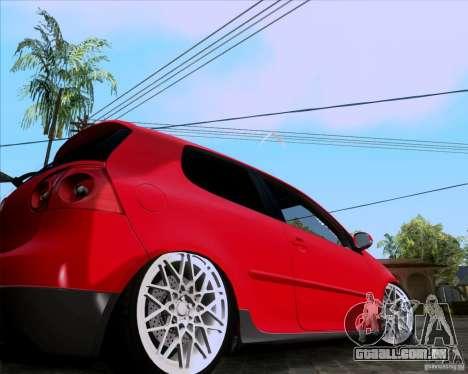 Volkswagen Golf MK5 GTI Stance para GTA San Andreas traseira esquerda vista