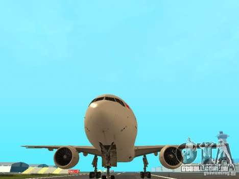 Boeing 777-200 Singapore Airlines para GTA San Andreas vista interior