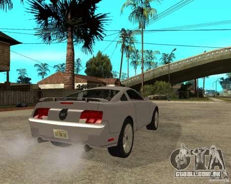Ford Mustang GT 2005 para GTA San Andreas traseira esquerda vista