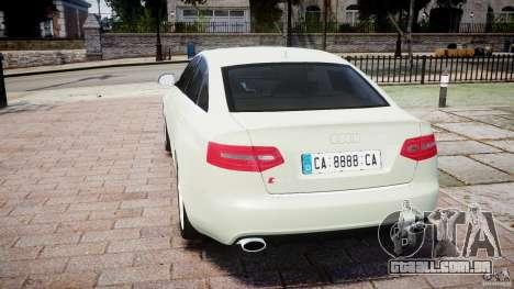 Audi RS6 2010 para GTA 4 traseira esquerda vista