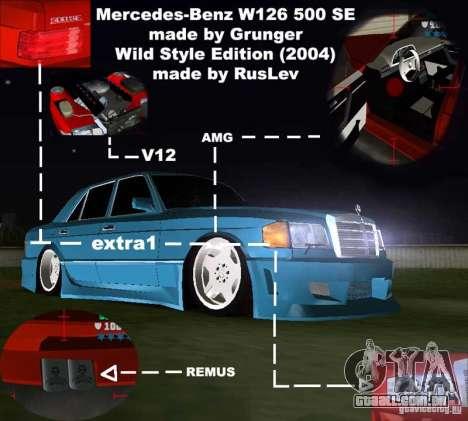 Mercedes-Benz W126 Wild Stile Edition para GTA Vice City vista interior