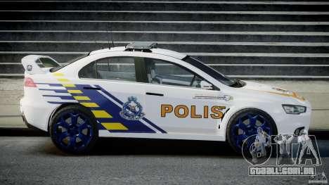 Mitsubishi Evolution X Police Car [ELS] para GTA 4 esquerda vista