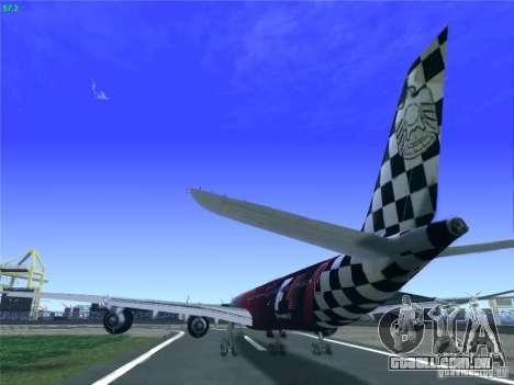 Airbus A340-600 Etihad Airways F1 Livrey para GTA San Andreas traseira esquerda vista