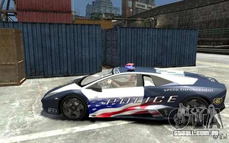 Lamborghini Reventon Police Stinger Version para GTA 4 esquerda vista