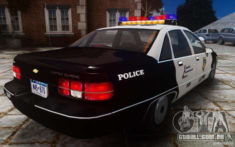 Chevrolet Caprice 1991 Police para GTA 4 vista de volta