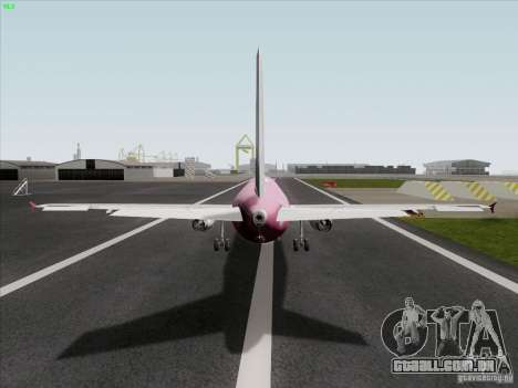 Airbus A319 Spirit of T-Mobile para GTA San Andreas traseira esquerda vista