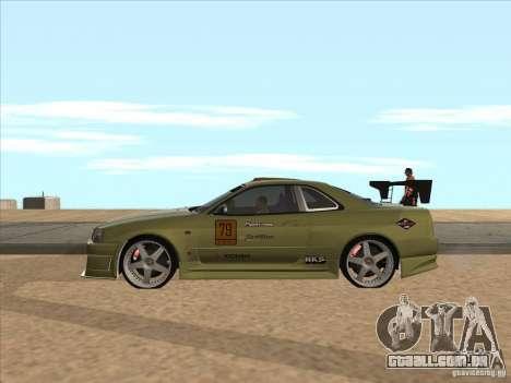 Nissan Skyline R34 VeilSide para GTA San Andreas vista inferior