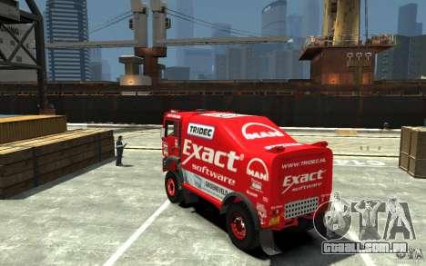 MAN TGA Rally Truck para GTA 4 traseira esquerda vista