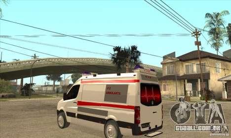 Volkswagen Crafter Ambulance para GTA San Andreas traseira esquerda vista