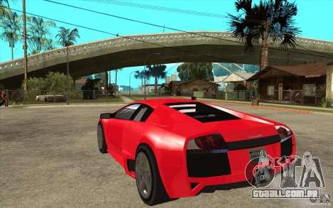 Lamborghin Murcielago LP640 v2 para GTA San Andreas traseira esquerda vista