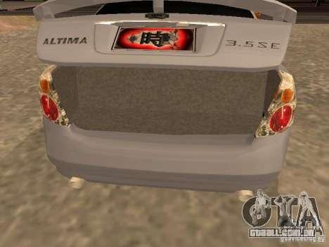 NISSAN ALTIMA para GTA San Andreas vista traseira