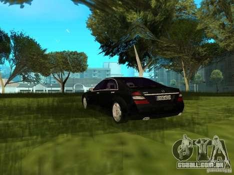 Mercedes Benz S600 para GTA San Andreas traseira esquerda vista