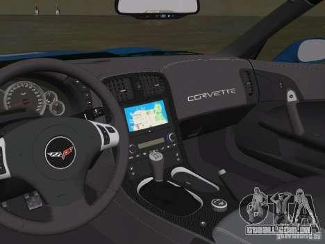 Chevrolet Corvette ZR1 para GTA Vice City vista traseira