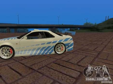 Nissan Skyline GT-R R34 Tunable para GTA San Andreas vista superior