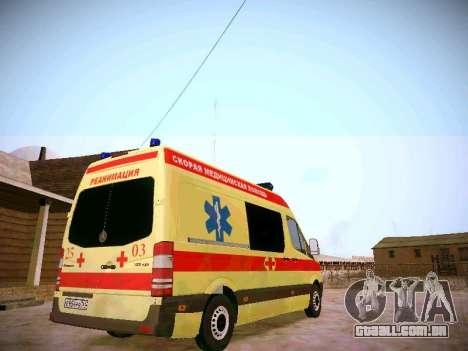 Mercedes Benz Sprinter Ambulance para GTA San Andreas vista direita