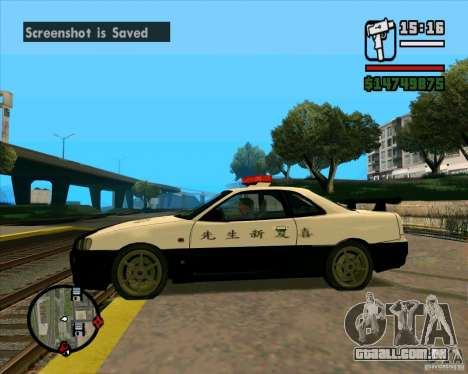 Nissan Skyline Japan Police para GTA San Andreas esquerda vista