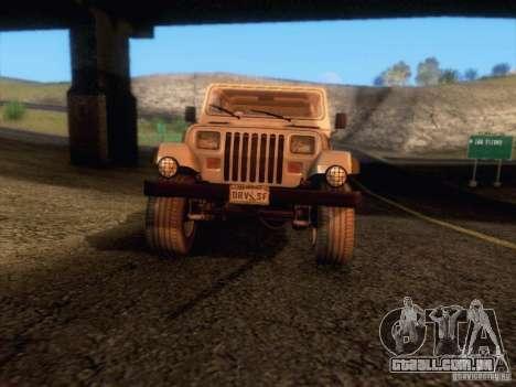 Jeep Wrangler 1994 para GTA San Andreas vista superior
