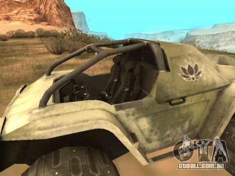Ocelot UAZ-8 para GTA San Andreas traseira esquerda vista
