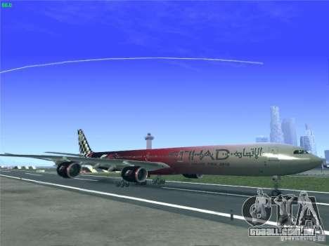 Airbus A340-600 Etihad Airways F1 Livrey para GTA San Andreas esquerda vista