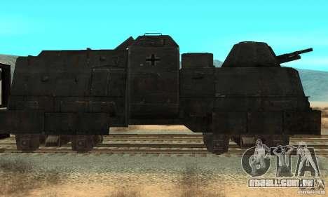 Trem blindado alemão do mundo segundo para GTA San Andreas esquerda vista
