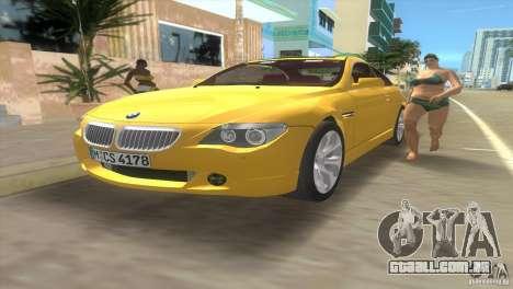 BMW 645Ci para GTA Vice City vista lateral