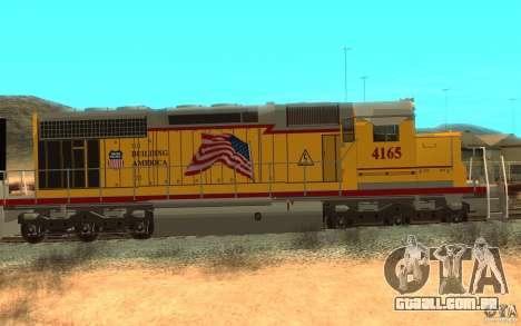 SD 40 Union Pacific Building America para GTA San Andreas traseira esquerda vista