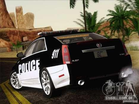 Cadillac CTS-V Police Car para GTA San Andreas vista direita