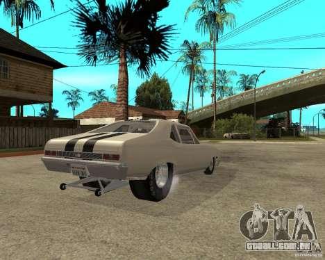 1969 Chevrolet Nova ProStreet Dragger para GTA San Andreas traseira esquerda vista