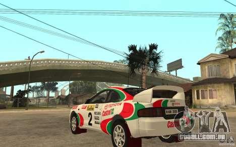 Toyota Celica GT4 DiRT para GTA San Andreas traseira esquerda vista