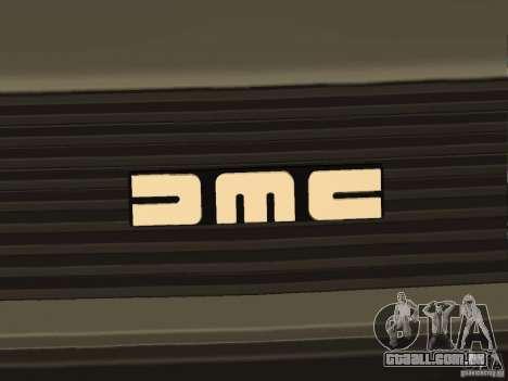 DeLorean DMC-12 para GTA San Andreas vista traseira