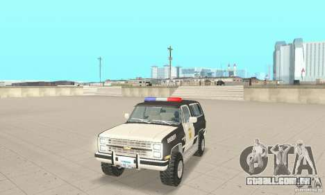 Chevrolet Blazer Sheriff Edition para GTA San Andreas esquerda vista