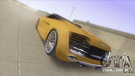 Audi R8 5.2 FSI Spider para GTA San Andreas traseira esquerda vista