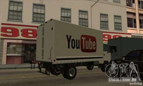 Caminhão com logotipo do YouTube para GTA San Andreas esquerda vista