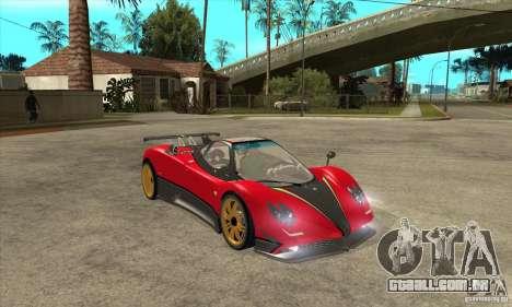 Pagani Zonda Tricolore V1 para GTA San Andreas vista traseira