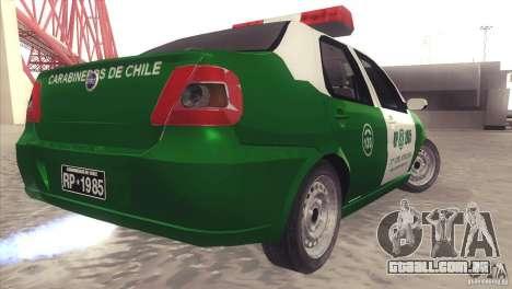 Fiat Siena Carabineros De Chile para GTA San Andreas traseira esquerda vista