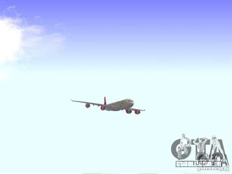Airbus A340-600 Virgin Atlantic para GTA San Andreas vista traseira