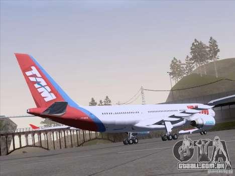 Airbus A330-223 TAM Airlines para GTA San Andreas vista interior