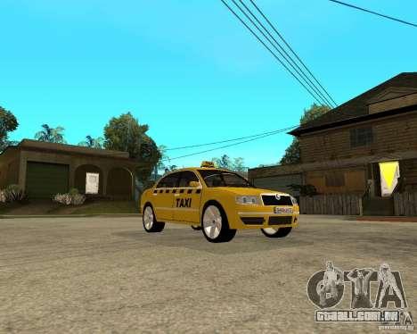 Skoda Superb TAXI cab para GTA San Andreas vista traseira