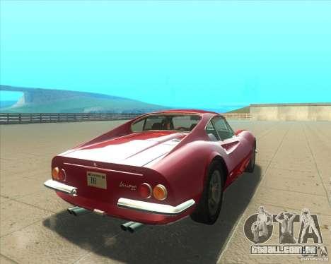 Ferrari Dino 246 GT para GTA San Andreas traseira esquerda vista