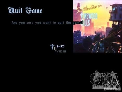 O menu principal no estilo de GTA 5 para GTA San Andreas por diante tela