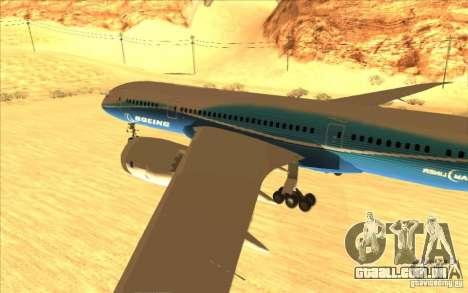 Boeing 787 Dreamlinear para GTA San Andreas traseira esquerda vista