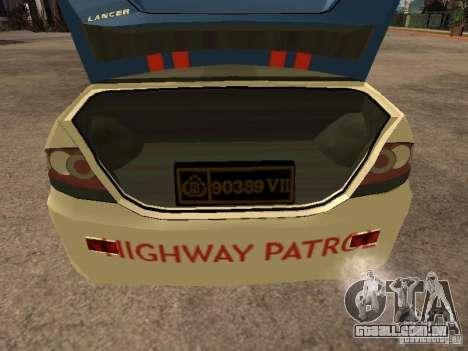 Mitsubishi Lancer Police Indonesia para GTA San Andreas vista traseira